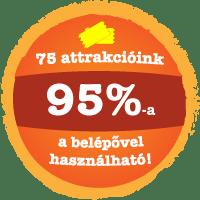 75 attrakcióink 95%-a a belépővel használható