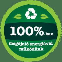 100%-ban megújuló energiával működünk